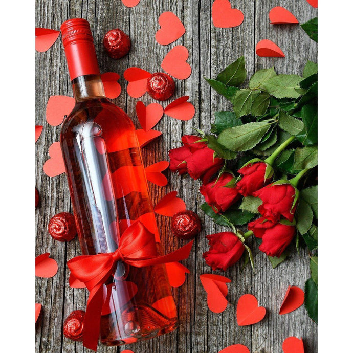 DIY Paint by Number kit for Adults on Canvas-Wine and Roses-