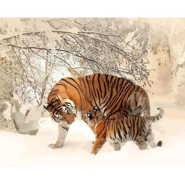 DIY Paint by Number kit for Adults on Canvas-Winter Tigers-Painting & Calligraphy