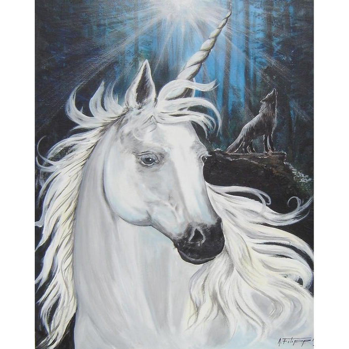 DIY Paint by Number kit for Adults on Canvas-Wolf and the Unicorn-Clean PBN