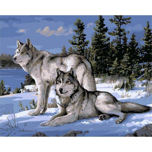 DIY Paint by Number kit for Adults on Canvas-Wolf Pack On Winter Mountain [LIMITED PRINT]-40x50cm (16x20inches)
