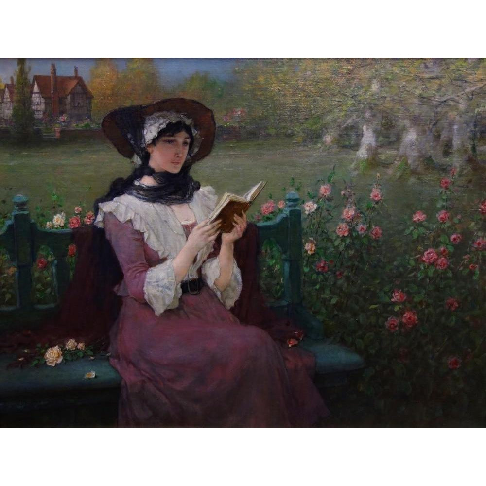 DIY Paint by Number kit for Adults on Canvas-Woman Reading - George Henry Boughton - 1900-Clean PBN