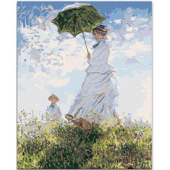 DIY Paint by Number kit for Adults on Canvas-Woman with a Parasol - Madame Monet and Her Son - Claude Monet-Clean PBN