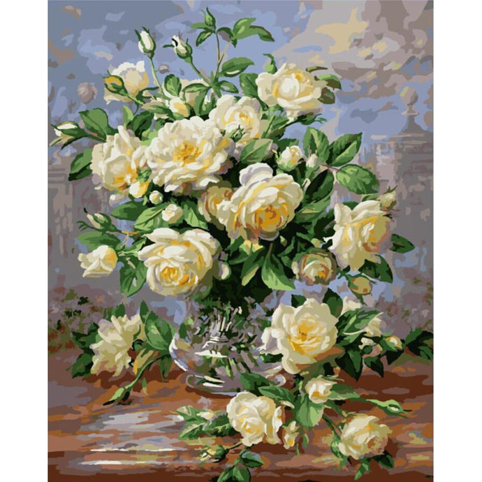 DIY Paint by Number kit for Adults on Canvas-Yellow Flowers Still Life-40x50cm (16x20inches)