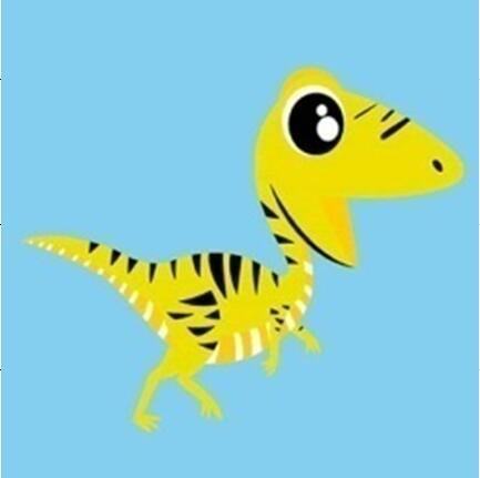Yellow Raptor Dinosaur - [Tiny Print] - Paint by Numbers Kit