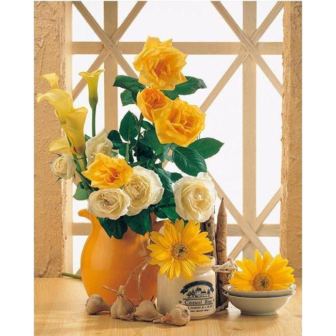DIY Paint by Number kit for Adults on Canvas-Yellow Summer Flowers-40x50cm (16x20inches)