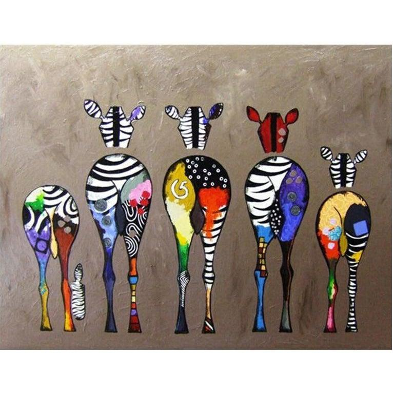 DIY Paint by Number kit for Adults on Canvas-Zebra Bottoms-40x50cm (16x20inches)