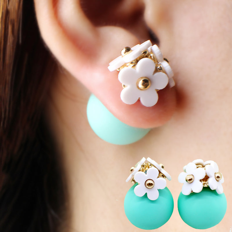 Fashion simulated pearl ball Earrings flower hiphop korea two side Jewelry Double side Stud Earring white statement For Women