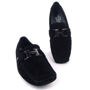 H Buckle Suede Loafers