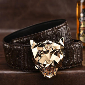Leopard Head Leather Belts