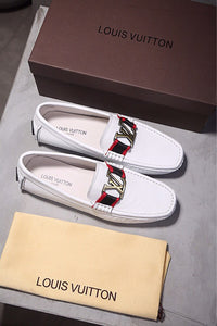 White LV Leather Loafers