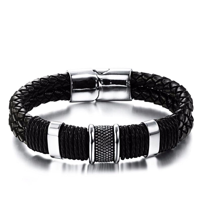 Leather Stainless Steel Magnetic Bracelets