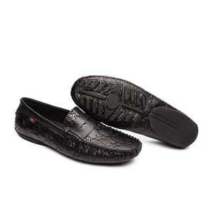 Gommino Print Leather Loafers