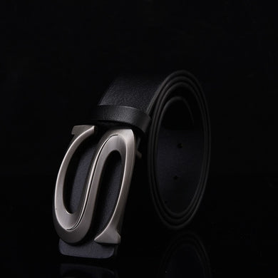 Alloy Buckle Leather Belt