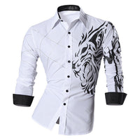 Lion Print Casual Button-Up