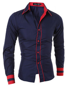 Cuff Striped Camisa Masculina Casual Shirt