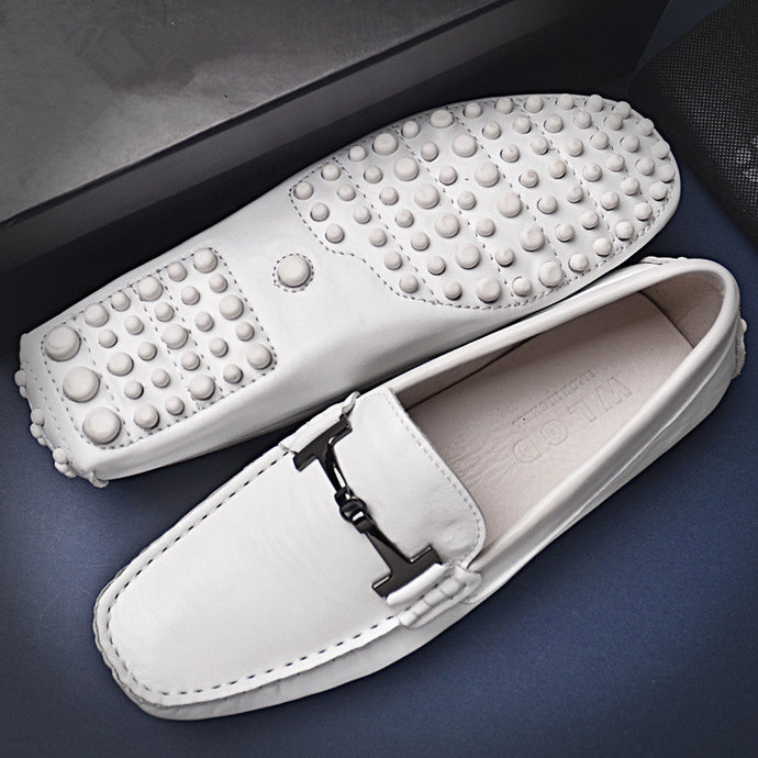 Soft Leather Buckle Loafers