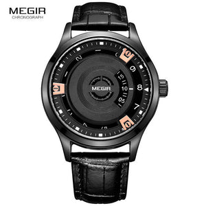 Megir Quartz-Watch Leather Strap Watches