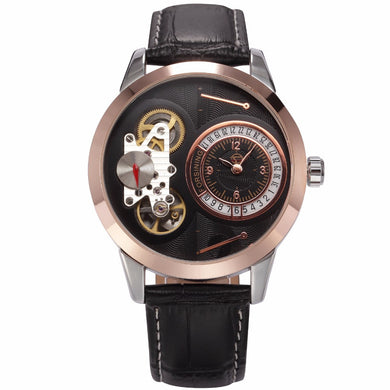 FORSINING Rose Gold Leather Mechanical Wristwatches