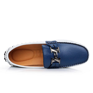 H Buckle Leather Loafers