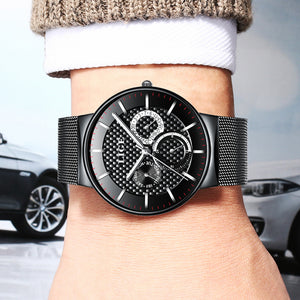 LIGE Luxury Steel Strap Watches