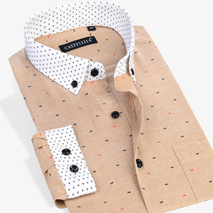 Fish Bone Printed Dress Shirts