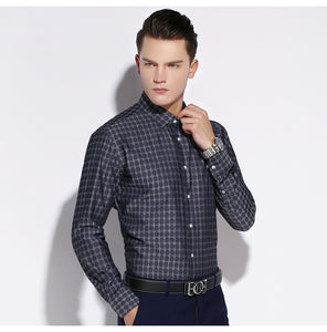 Dot Pattern Plaid Dress Shirt