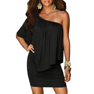 Slash Neck  Mini Dress