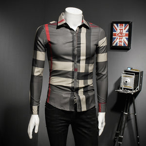 Plaid Fashion Turn Down Collar Shirts