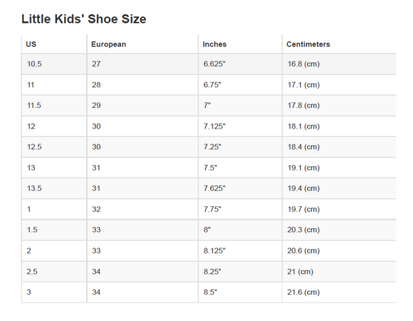 Size chart - little kids 4-7 yrs