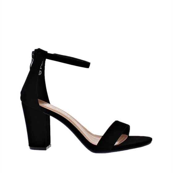 Ankle Strap Mid Chunky Heel (BLACK)