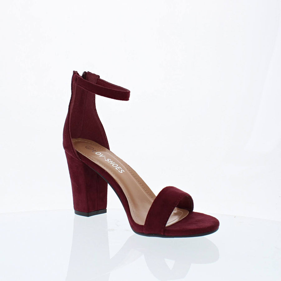 Ankle Strap Mid Chunky Heel (WINE)