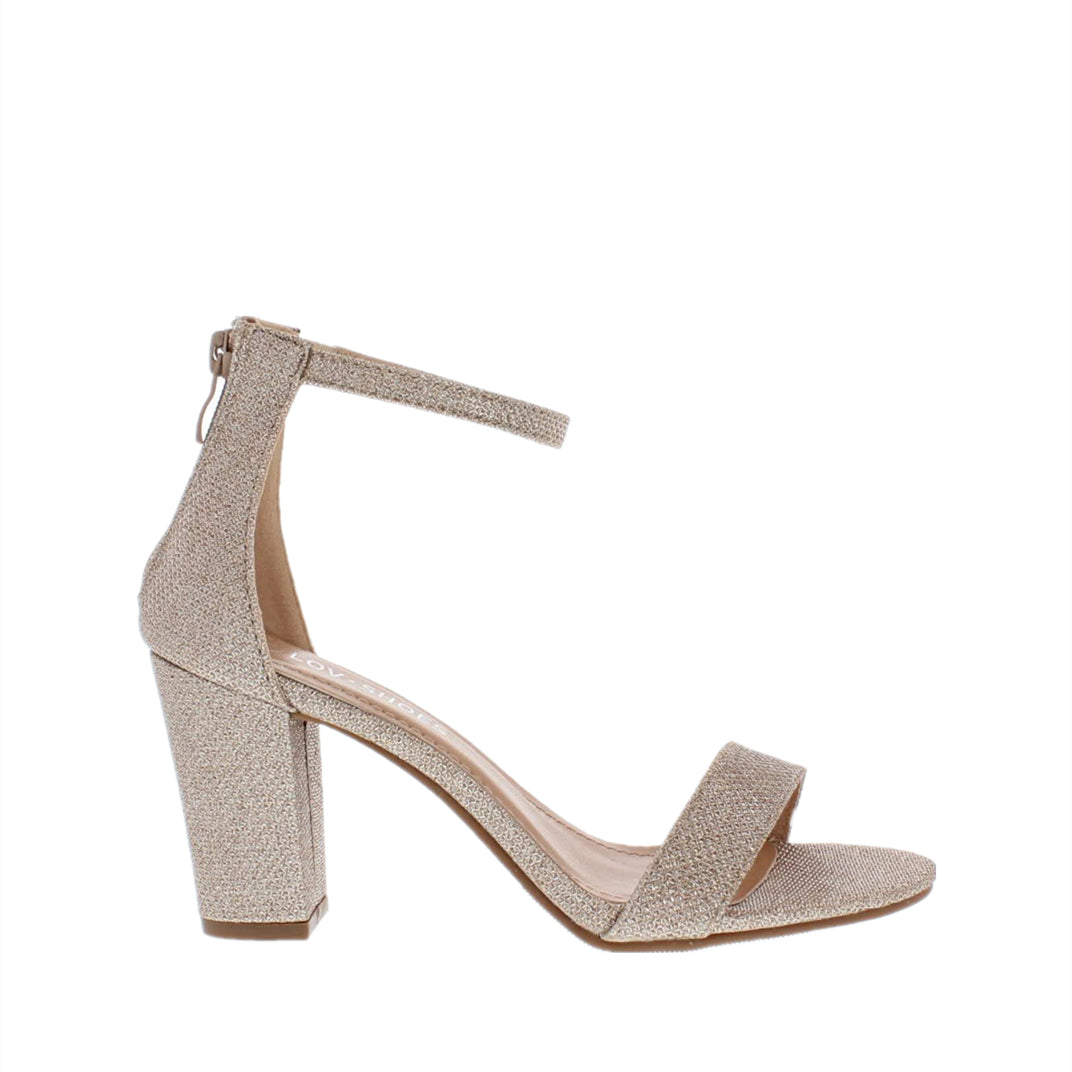 Ankle Strap Mid Chunky Heel (CHAMPAGNE)