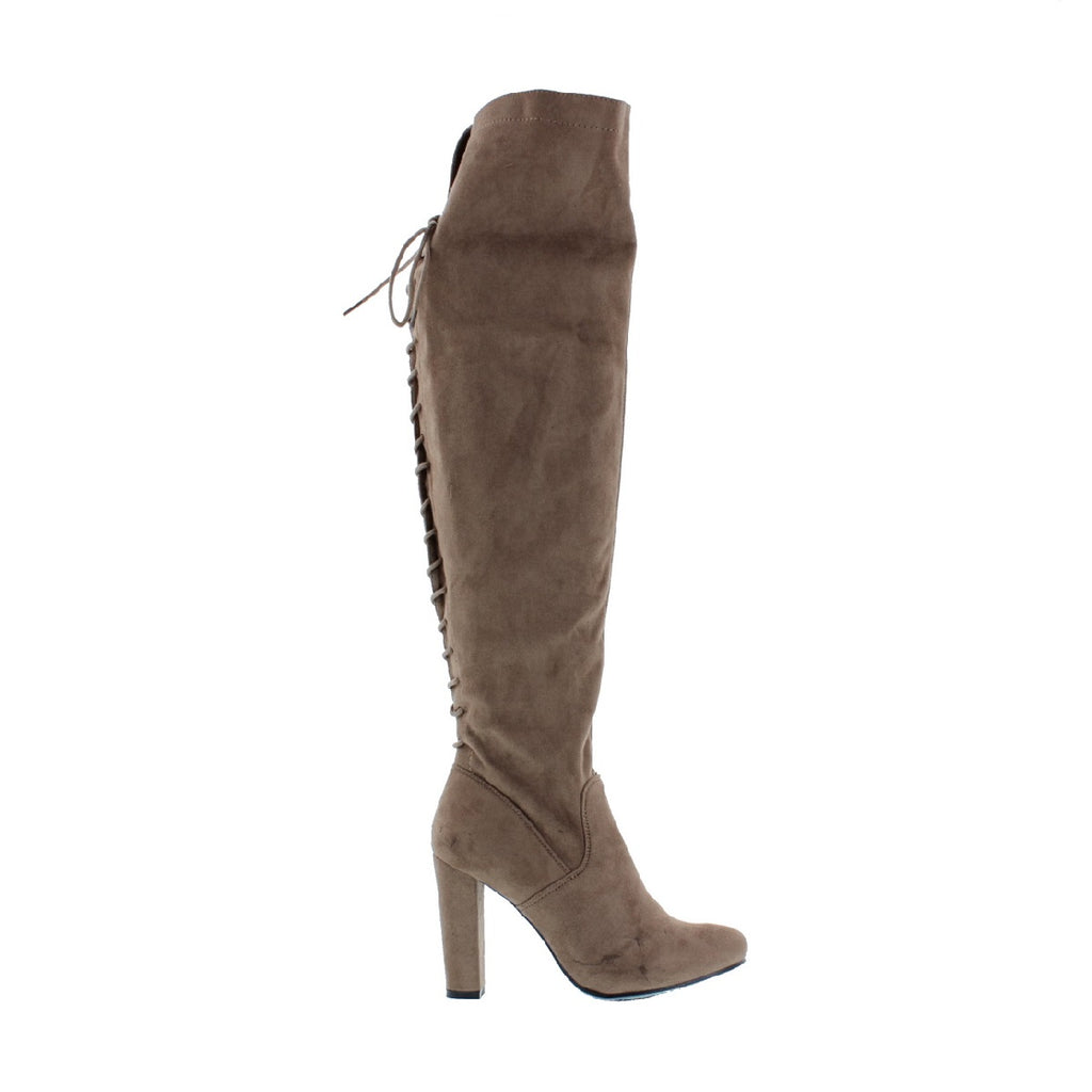 Back Lace Up Knee High Boot (TAUPE)