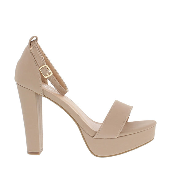 Ankle Strap Chunky Heel Pump (TAN)