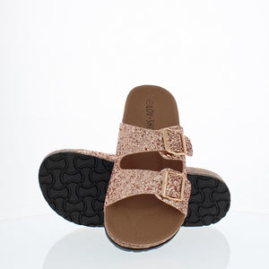 2Buckle Casual Sandal (ROSE GOLD GLITTER)