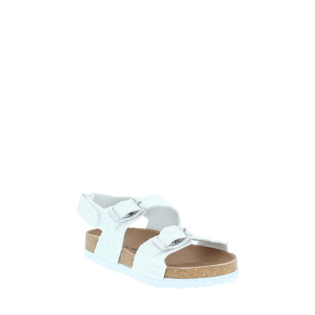 2Buckle Casual Toddler Sandal (WHITE GLITTER)