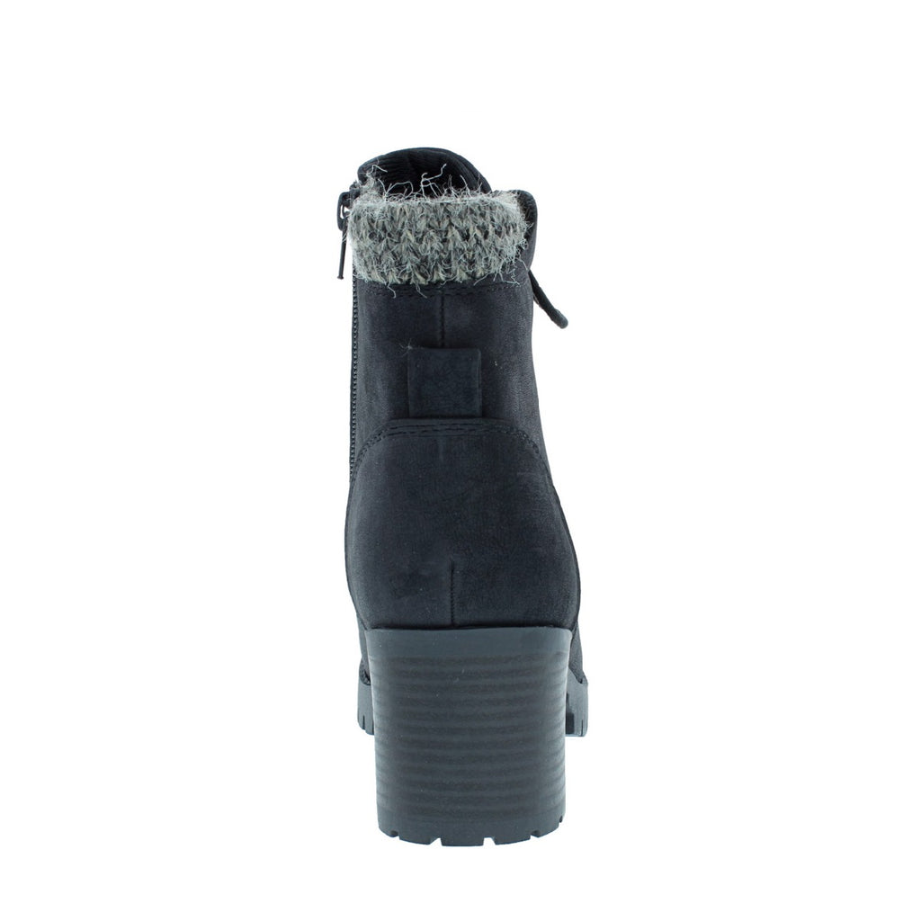 Sweater Lined Lug Sole Bootie (BLACK)