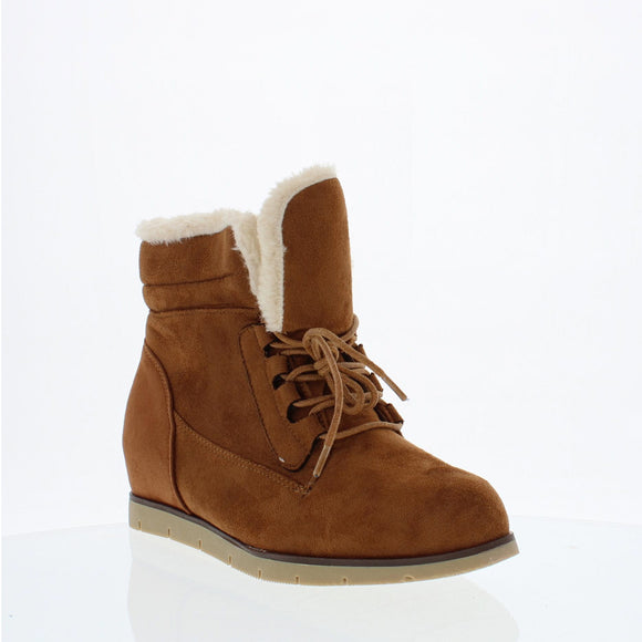 Fur Lined Wedge booties (CAMEL)