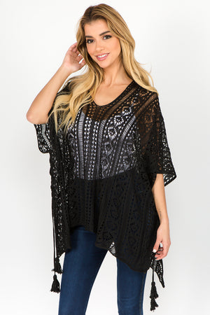 Solid Lace Poncho (BLACK)
