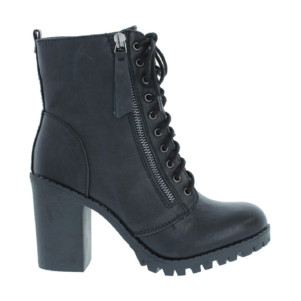 Heel Combat Boot (BLACK)