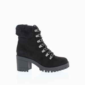 Fur Trim Lug Sole Ankle Boot (BLACK)