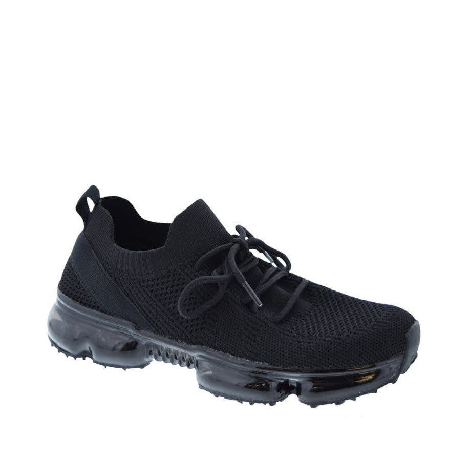 Knit Lace Up Sneaker (BLACK)