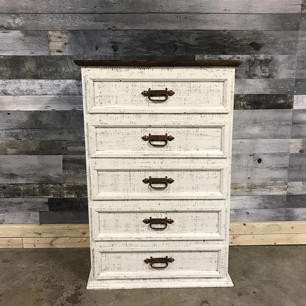 5 Drawer Rustic Pine White Wash Tall Boy