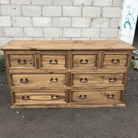Mansion 8 drawer rustic Mexican pine dresser