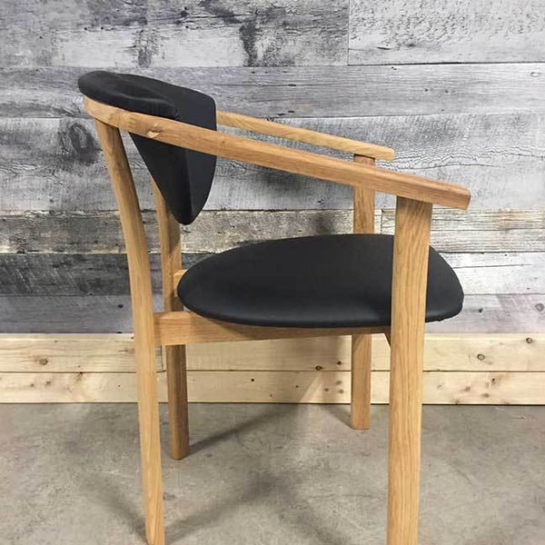 Alexis solid oak black leatherette chair