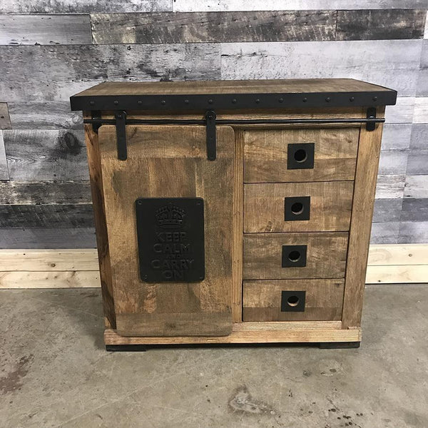 Keep Calm Carry On industrial rustic small chest of drawers