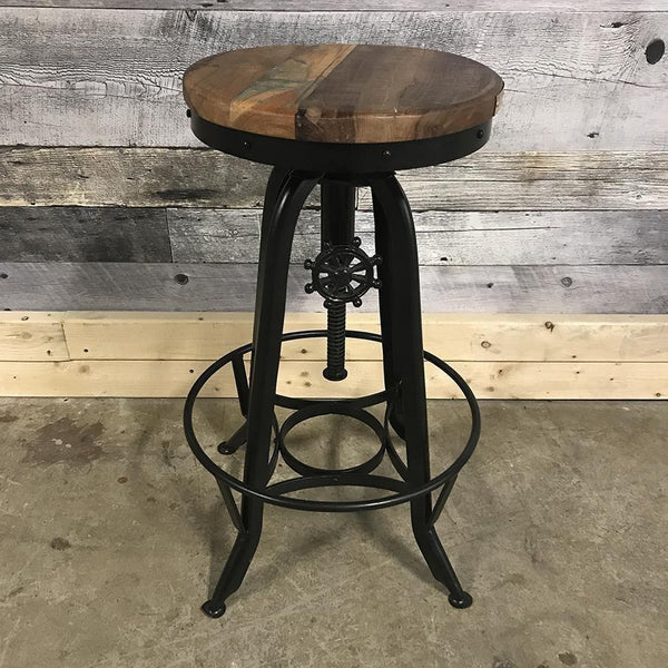 Adjustable Industrial stool in Recycled wood and metal