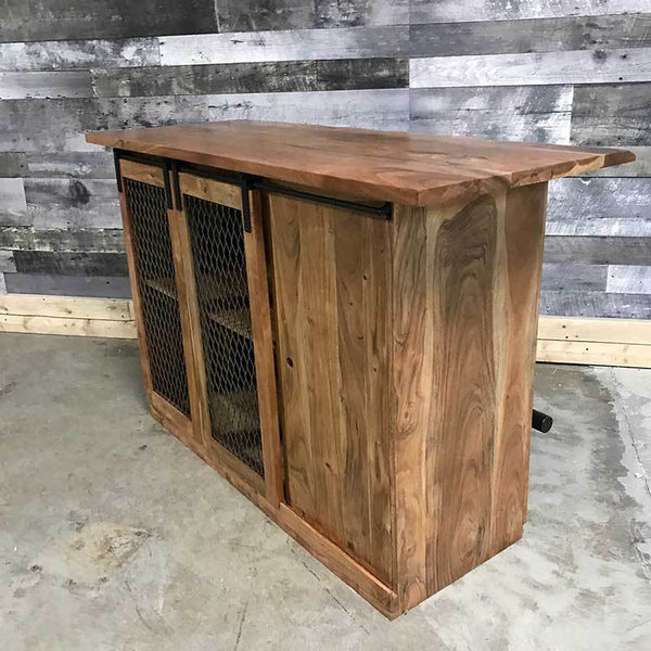 Barn Door Acacia industrial home bar kitchen island