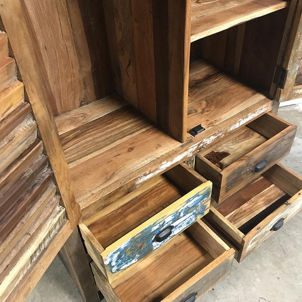 Cancun Reclaimed wood armoire with shutter doors