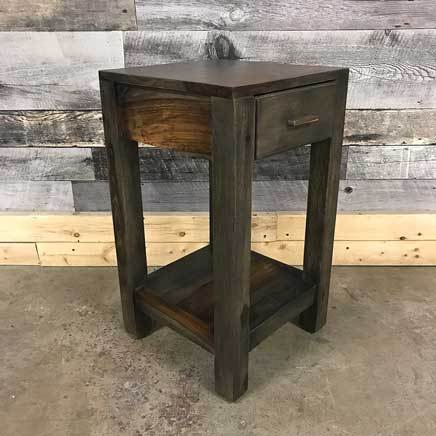 Zen 1 drawer grey Rosewood side table